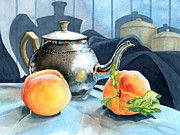 Silver Tea Pot Paintings - Peaches and Tea by Barbara Jewell