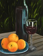 Wine-bottle Framed Prints - Peaches and Wine Framed Print by Carol Sweetwood