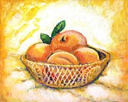 Peaches Painting Prints - Peaches In A Basket Print by Barbara LeMaster