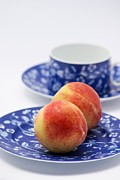 Saucer Peach Framed Prints - Peaches Framed Print by Maria Bedacht