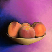 Peaches Framed Prints - Peaches - Pastel Framed Print by Ben Kotyuk