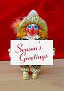 Clown Sculpture Posters - Peaches - Seasons Greetings Poster by David Wiles