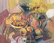Still-life With Peaches Prints - Peaches with immorteles Print by Meruzhan Khachatryan