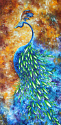 Jewel Tone Paintings - Peacock Abstract Bird Original Painting IN BLOOM by MADART by Megan Duncanson