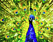 Peacock Abstract Realism Print by Zeana Romanovna