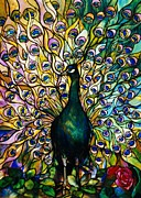 Animals Glass Art Framed Prints - Peacock Framed Print by American School