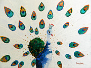 Bright Appearance Painting Prints - Peacock Print by Denisa Laura Doltu