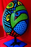 Blue Sculpture Metal Prints - Peacock Egg II  Metal Print by John  Nolan