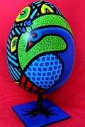 Blue Sculpture Metal Prints - Peacock Egg Metal Print by John  Nolan