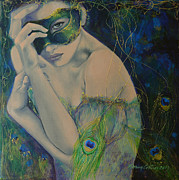 Blue Purple Paintings - Peacock Enigma by Dorina  Costras