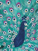 Bird Prints Paintings - Peacock-feather-bird by Beverly Livingstone