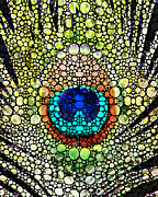 Green Art Posters - Peacock Feather - Stone Rockd Art by Sharon Cummings Poster by Sharon Cummings