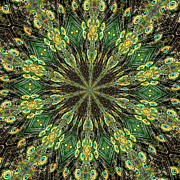 Rose Santuci-sofranko Posters - Peacock Feathers Kaleidoscope 10 Poster by Rose Santuci-Sofranko