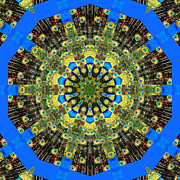 Rose Santuci-sofranko Posters - Peacock Feathers Kaleidoscope 9 Poster by Rose Santuci-Sofranko