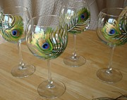 Hand Painted Glasses Glass Art - Peacock Feathers on Wineglasses by Sarah Grangier