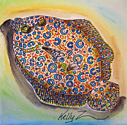 Caribbean Sea Mixed Media - Peacock Flounder by Kelly     ZumBerge