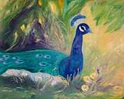 Kay Painting Originals - Peacock in the Grass by Jan Moore