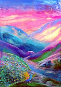 Mountains Paintings - Peacock Magic by Jane Small