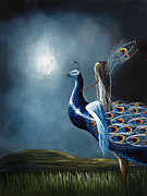 Blue Dress Paintings - Peacock Princess by Shawna Erback by Shawna Erback