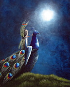Bright Moon Prints - Peacock Princess II by Shawna Erback Print by Shawna Erback