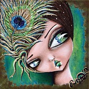 Oddball Art Painting Prints - Peacock Princess Print by Lizzy Love of Oddball Art Co