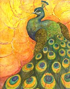 Peacock Drawings Metal Prints - Peacock Metal Print by Sara Bell