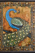 Color Reliefs Metal Prints - Peacock Metal Print by Stacy Medaries