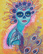 Mardi Gras Paintings - Peacock Sugar Skull by Laura Barbosa