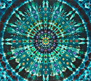 Tie Dye Tapestries - Textiles Metal Prints - Peacock Throne Mandala Metal Print by Courtenay Pollock