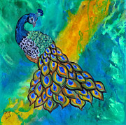 Abstract Wildlife Paintings - Peacock Waltz II by Ella Kaye