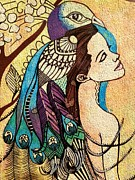 Amy Sorrell Paintings - Peacock Woman by Amy Sorrell