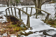 Snowy Stream Prints - Peaks of Otter Footbridge Print by Steve Hurt