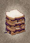 Sandwich Digital Art - Peanut Butter and Jelly Sandwich by Ym Chin