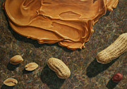 Abstract Food Paintings - Peanut Butter and Peanuts by James W Johnson