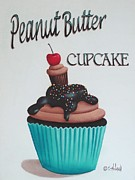 Folk Art Paintings - Peanut Butter Cupcake by Catherine Holman