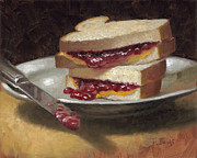 Sandwich Painting Framed Prints - Peanut Butter Jelly Time Framed Print by Timothy Jones