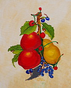 Pear Tree Painting Posters - Pear and apples Poster by Johanna Bruwer