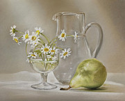 Still Life Pastels Prints - Pear and Daisies Print by Natasha Denger