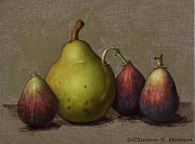 Fruit Painting Posters - Pear and Figs Poster by Clinton Hobart
