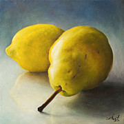 Harvest Art Painting Posters - Pear and lemon Poster by Anna Abramska