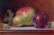 Grapes Paintings - Pear and Plum by Timothy Jones
