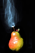 Fresh Food Digital Art Prints - Pear And Smoke little people on food Print by Paul Ge