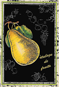 French Country Mixed Media Posters - Pear French Print Poster by Anahi DeCanio