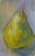 Donna Shortt Painting Framed Prints - Pear Green Grunge Framed Print by Donna Shortt