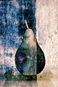 Photomontage Framed Prints - Pear in Blue Framed Print by Carol Leigh
