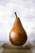 Subtle Metal Prints - Pear in the Clouds Metal Print by Carol Leigh