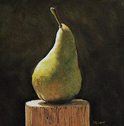 Print On Canvas Pastels Prints - Pear Print by Joanne Grant