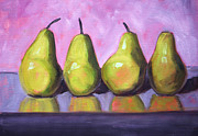 Fruit Shaped Prints - Pear Line Print by Nancy Merkle