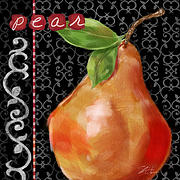 Black Mixed Media Framed Prints - Pear on Black and White Framed Print by Shari Warren
