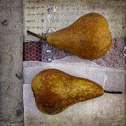 Fabric Collage Posters - Pear Pair Poster by Elena Nosyreva